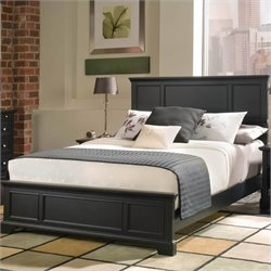 Queen Wood Panel Bed 3 Piece Bedroom Set in Ebony