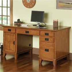 Furniture Wood Pedestal Desk in Cottage Oak