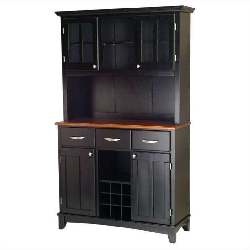 3 Drawer Black Buffet and 2-Door Hutch with Cottage Oak Top