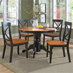 5 Piece Round Pedestal Dining Set in Cottage Oak