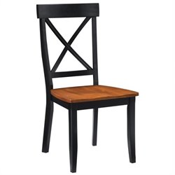 Dining Chair in Black and Cottage Oak (Set of 2)
