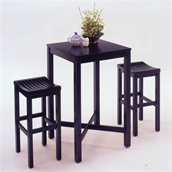 Black Pub Table and Bar Stool Set