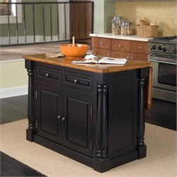 Kitchen Island in Black and Oak Finish