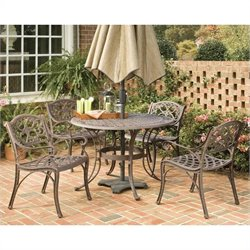 5 Piece Metal Patio Dining Set in Bronze