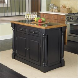 Roll-Out Leg Granite Top Kitchen Island in Black and Oak