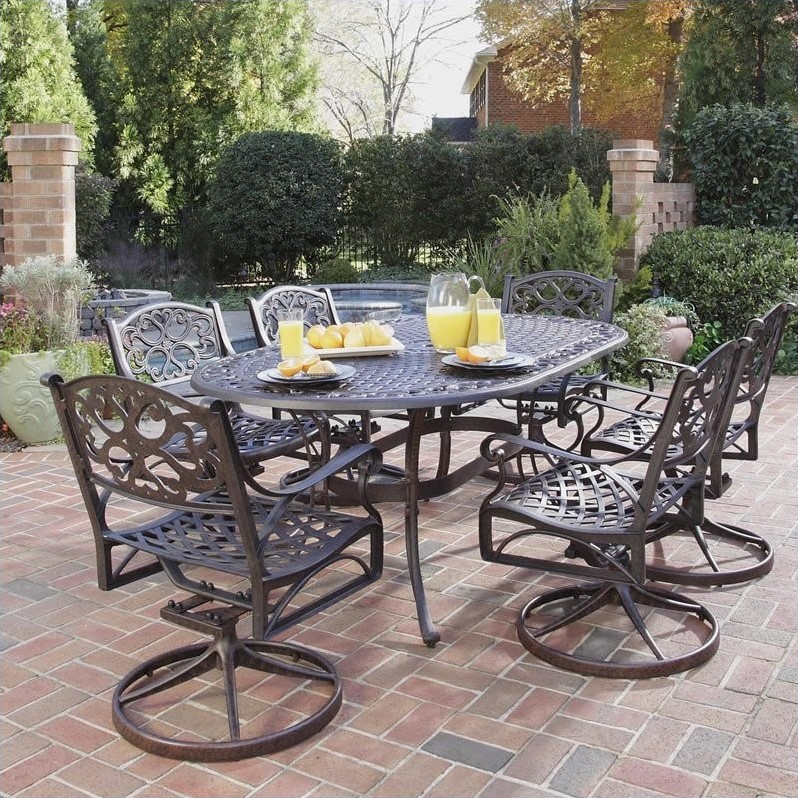 7 piece metal patio dining set in bronze 5555 335 for Outdoor furniture 7 piece