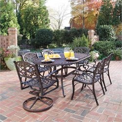 7 Piece Metal Patio Dining Set in Bronze