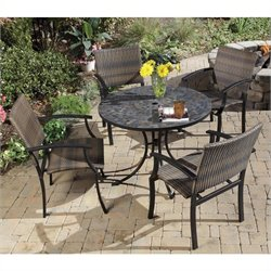 5 Piece Metal Patio Dining Set in Black