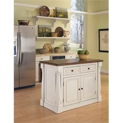 Home Styles Monarch Antiqued Kitchen Island in Antiqued White