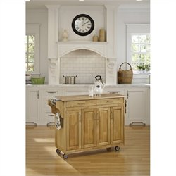 49 Inch Wood Top Kitchen Cart in Natural