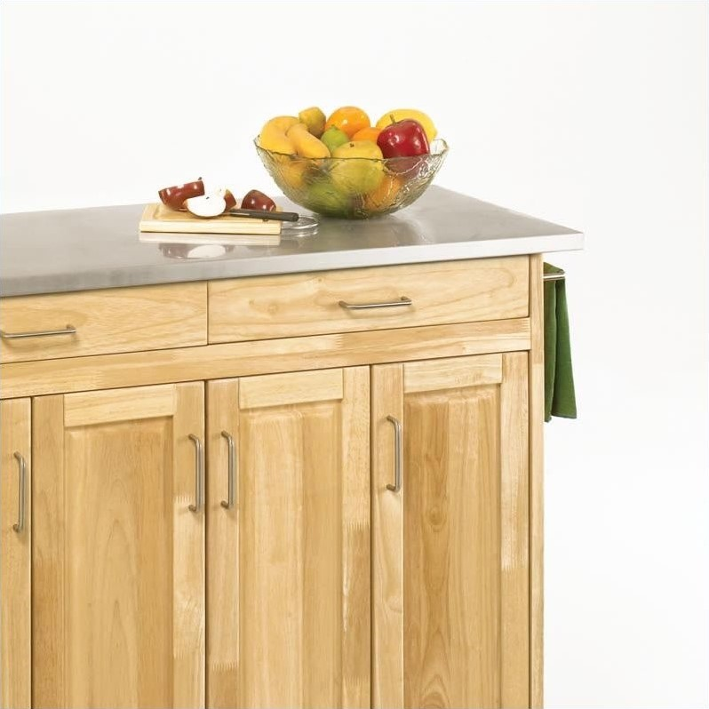 49 Inch Stainless Top Kitchen Cart in Natural