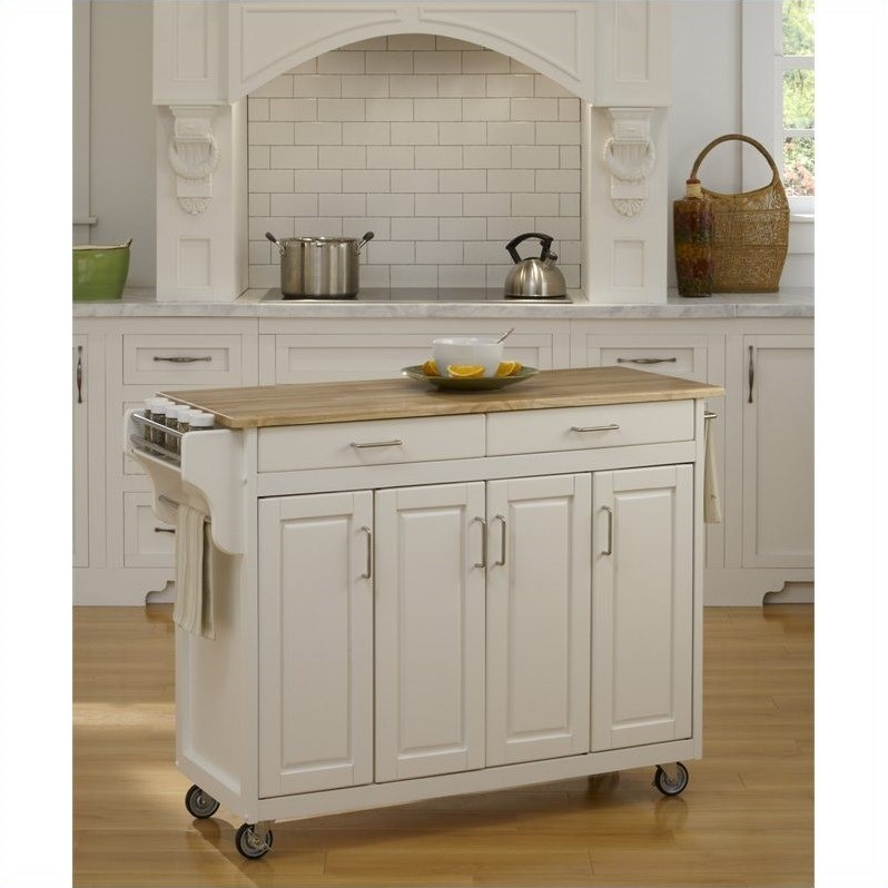 49 Inch Wood Top Kitchen Cart in White