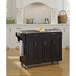 49 Inch Stainless Top Kitchen Cart in Black