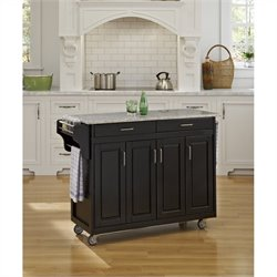 49 Inch Salt & Pepper Granite Top Kitchen Cart in Black