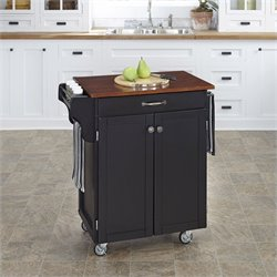 Kitchen Cart in in Black Finish with Cherry Top