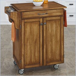 Kitchen Cart with Oak Top in Warm Oak