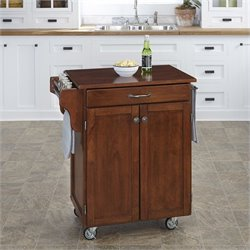 Kitchen Cart in in Cherry Finish with Cherry Top