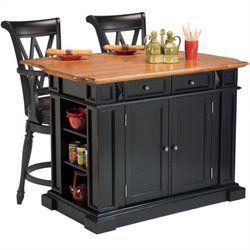 Kitchen Island in Black and Oak and 2 Bar Stools
