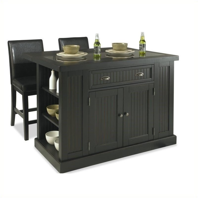 Island and Two Stools in Distressed Black Finish