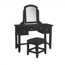 Vanity Table and Bench in Black Finish
