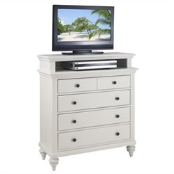 TV Media Chest in Brushed White Finish