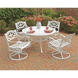 5 Piece Metal Patio Dining Set in White