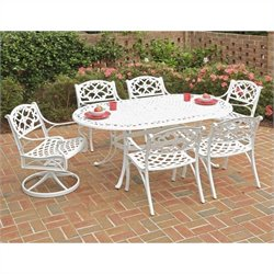 7 Piece Metal Patio Dining Set in White