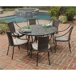 7 Piece Metal Patio Dining Set in Black
