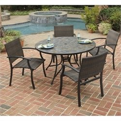 Home Styles Stone Harbor 5 Piece Metal Patio Dining Set in Black