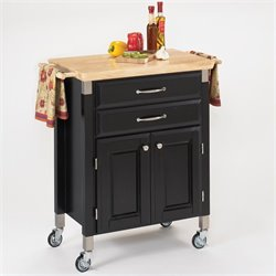 Wood Top Prep and Serve Kitchen Cart in Black