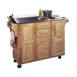 Stainless Steel Kitchen Cart with Breakfast Bar in Natural Finish