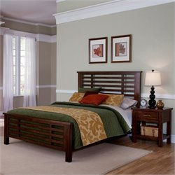 Home Styles Cabin Creek Bed and Night Stand in Chestnut