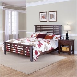 Queen Bed and Night Stand in Chestnut Finish