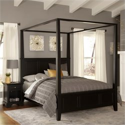 Canopy Bed and Night Stand in Black