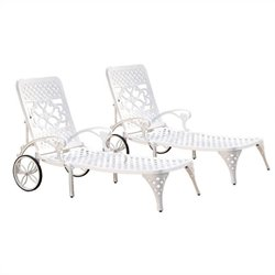 White Chaise Lounge Chairs Set of 2