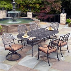 7 Piece Metal Patio Dining Set in Charcoal