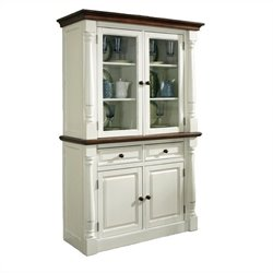 Buffet and Hutch in White and Oak Finish