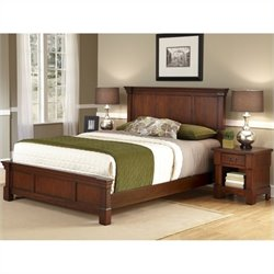 Queen Bed and Night Stand in Rustic Cherry