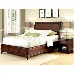 Sleigh Bed and Night Stand