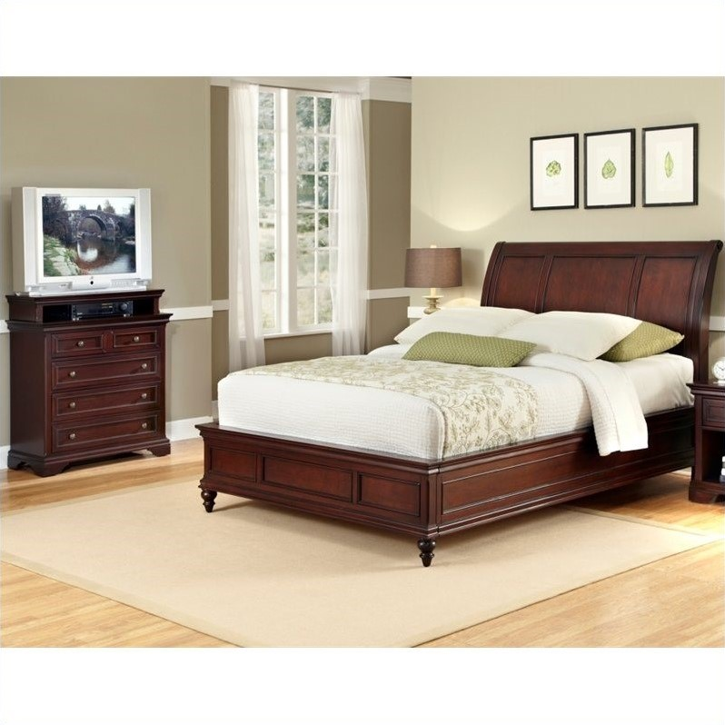 Sleigh Bed and Media Chest