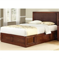 Platform King Panel Bed Brown Microfiber Inset