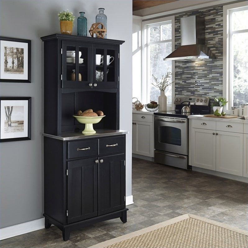 Wood Buffet with Stainless Steel Top and 2-Door Hutch in Black