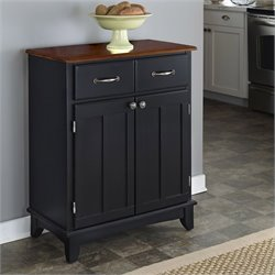 Furniture Black Buffet Server with Cherry Wood Top