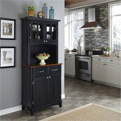 Black Buffet with Cherry Wood Top and 2-Door Hutch