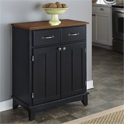 Furniture Buffet Server in Black and Cottage Oak