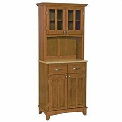 Cottage Oak Wood Buffet with Natural Wood Top and 2-Door Panel Hutch