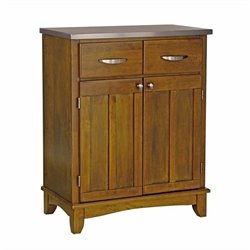 Cottage Oak Wood Buffet Kitchen Island with Stainless Steel Top
