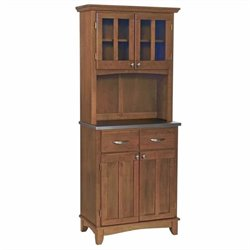 Cottage Oak Wood Buffet with Stainless Steel Top and 2-Door Hutch