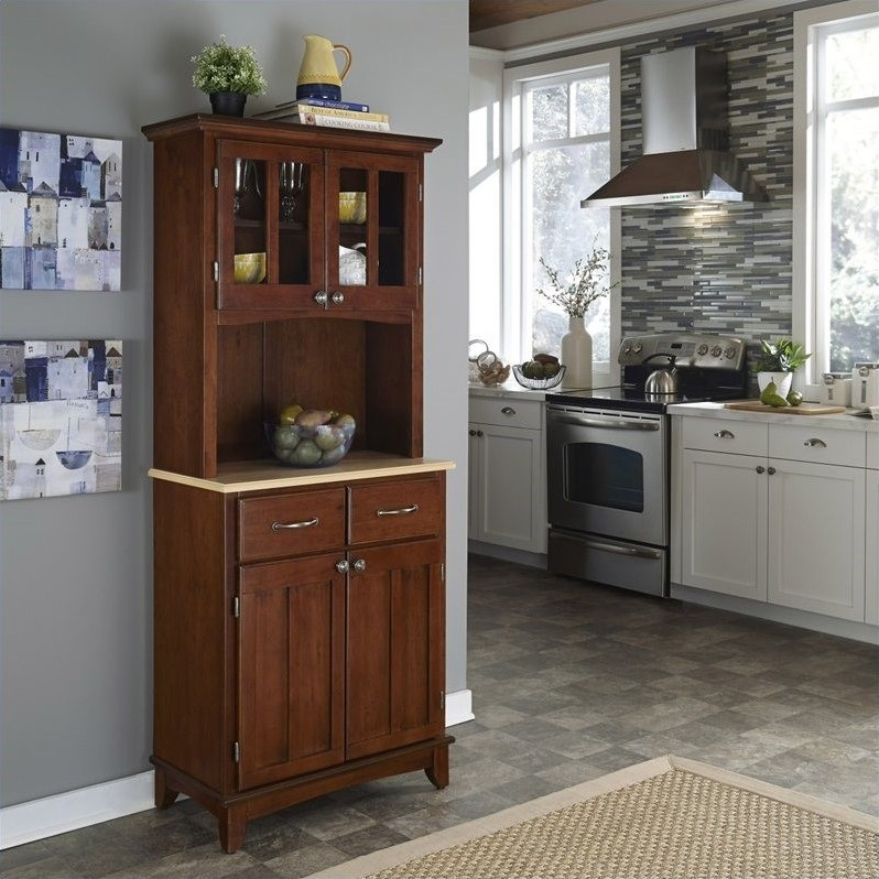 Cherry Wood Buffet with Natural Wood Top and 2-Door Panel Hutch