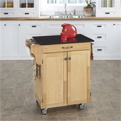 Natural Kitchen Cart with Granite Top